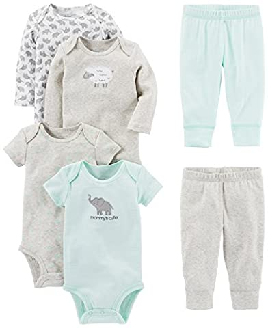 Simple Joys by Carter's Baby 6-Piece Little Character Set, Grey Lamb, 0-3 Months - Infant Footed Sleepwear