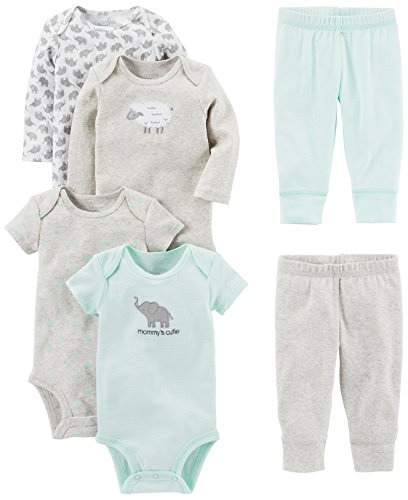 Simple Joys by Carter's Baby 6-Piece Neutral Bodysuits (Short and Long Sleeve) and Pants Set, Gray Lamb 3-6 Months