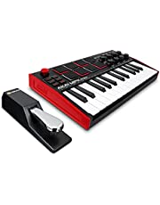 AKAI Professional MPK Mini MK3 - 25 Key USB MIDI Keyboard Controller With 8 Drum Pads, 8 Knobs and Music Production Software + M-Audio SP-2