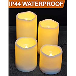 "HOME MOST Set of 4 Waterproof LED Pillar Candles with Timer (CREAM, 3""/4""/5""/6"" Tall, Wavy Edge) - Outdoor Battery Candles Faux Candles Flickering Flameless Candles - LED Fake Candles Bulk Home Decor"