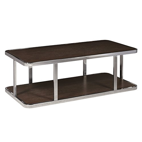 The Amazing Home Monaco Rectangular Coffee Cocktail Table Nickel and White Oak