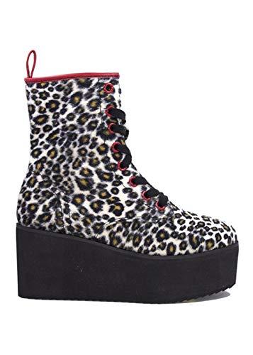 (Y.R.U. Womens Stomp HI Leopard Cheetah Animal Print Punk Platform Boots – Size 6)