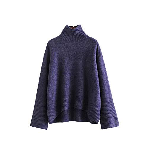 Chandail de chandail irrgulier col haut femmes automne nouveau style dcontract (Color : Blue, Size : S) Purple