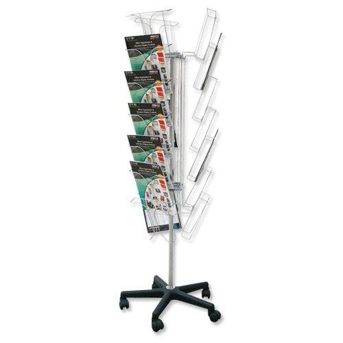 Deflecto Literature Ständer, Draht auf Rollen 3 Seiten, 21 x A4-Fächern W520xD520xH1520mm 78845
