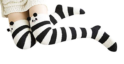 4ae03ec11 Wander G Womens Cute Cartoon Fuzzy Socks Over Knee Thigh High Stockings  Winter Warm Stripe Leg