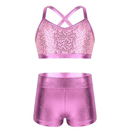 Sequined Racer Back Tank Top - TiaoBug Kids Girls Basic 2 Piece Active Dancewear Outfit Floral Lace Crop Top and Shorts Set for Gymnastics Dancing Workout Pink Sequined 8-10