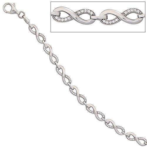 JOBO bracelet en argent sterling 925 rhodié avec fermoir mousqueton-oxyde de zirconium - 19 cm