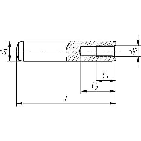 Innengewinde Form D geh/ärtet Toleranzfeld m6 DIN 7979-8 x 20-100 St/ück Zylinderstifte m