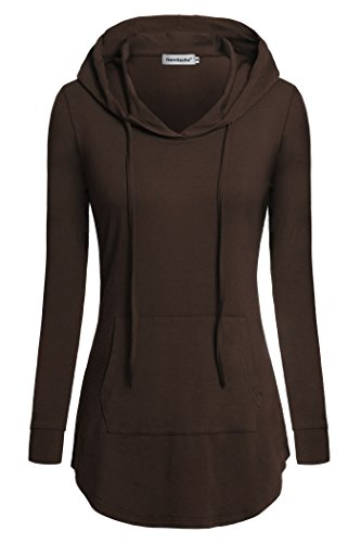 Nandashe Hoodies for Women, Feminie Classic Design Vintage Style Oneck Long-Sleeve Kangaroo Pocket Cheap Embellished Western Tunic Sweatershirts in Autumn and Winter US Size 12-16 Coffee Brown l by Nandashe
