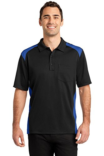 (CornerStone Men's Select Snag-Proof Two Way Colorblock Pocket Polo - X-Large - Black/ Royal)