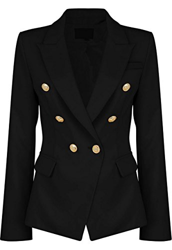 Womens Double Breasted Military Style Blazer Ladies Coat Jacket (US16, Black)