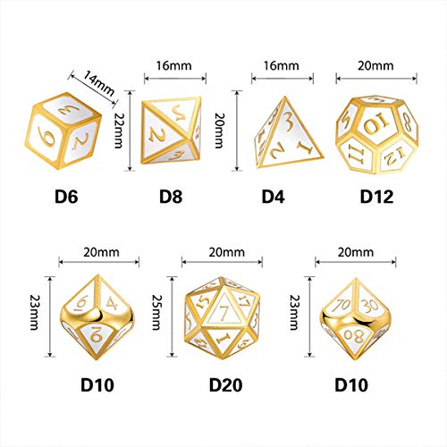 UONUOT 7pcs DND Metal Dice Set with Black Pouches D&D TabletopGames Embossed Heavy Polyhedral Metal Dice for Dungeons and Dragons Role Playing Games RPGs/DND/Set,Math Teaching(Gold Elegant White)