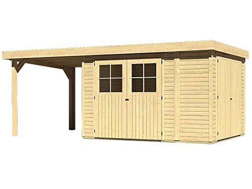 Karibu Woodfeeling Gartenhaus Laura 4 natur 19 mm mit Anbauschrank und Anbaudach 2,25 Meter