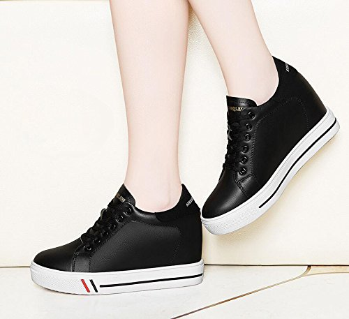 KHSKX-Negros De Cabeza Redonda De 6 Cm De Profundidad En Una Zapata Low-Cut El Nuevo Aumento En La Correa De Sujeción Casual Zapatos De Mujer Impermeable Zapatos Femeninos De Taiwán 35 38