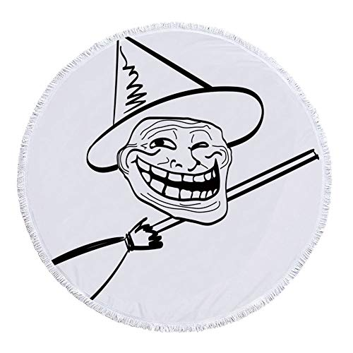 iPrint Thick Round Beach Towel Blanket,Humor Decor,Halloween Spirit Themed Witch Guy Meme Lol Joy Spooky Avatar Artful Image,Black White,Multi-Purpose Beach Throw -