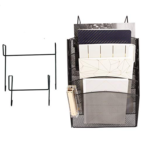 Office Cubicle Accessories Black Wire Mesh 5 Tier Hanging Wall File Organizer - 2 Hooks - Doors and Cubicle Hangers, Screws for Wall Mount - Cubicle Organizer
