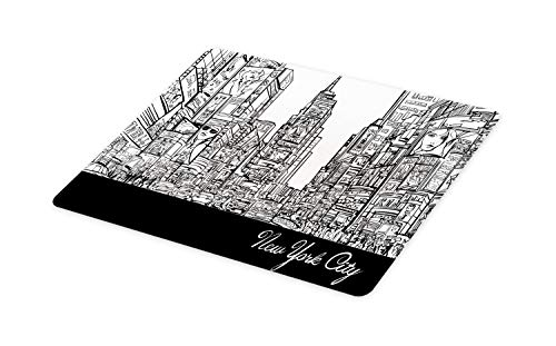 Lunarable New York Cutting Board, Times Square with Traffic Jam and Sketch Adverts Hand Drawn Urban City, Decorative Tempered Glass Cutting and Serving Board, Small Size, Charcoal Grey White