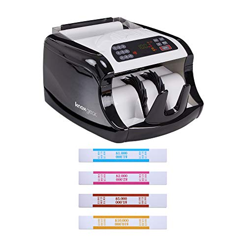 Counterfeit Currency Detection - Knox Cash Bill Counter with Counterfeit Detection - Money Counting Machine with UV, Magnetic and Infrared Detection - LED Display, Batch Modes, 1,000 Notes Per Minute PLUS 120 Assorted Currency Straps