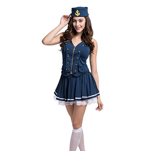 [Ladies Sexy Sailor Girl Pinup Navy Uniforms Halloween Fancy Dress Costume] (Pin Up Girl Costume Halloween)