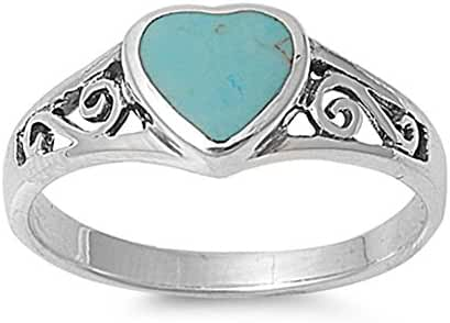 Sterling Silver Women's Heart Simulated Turquoise Ring Polished 925 Band 8mm Sizes 5-10