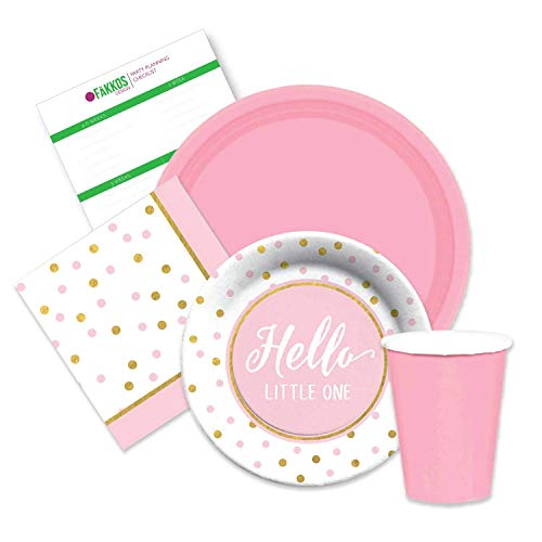 Elegant Girls Pink & Gold Baby Shower Party Supplies for 16 Dinner Plates, dessert plates, napkins paper -