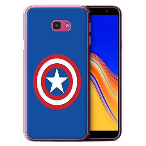 eSwish Gel TPU Phone Case/Cover for Samsung Galaxy J4 Plus 2018 / Captain Shield Inspired Design/Super Hero Comic Art Collection