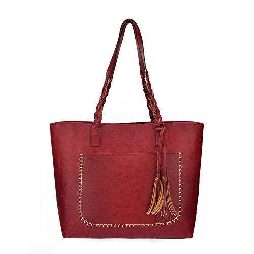Women PU Leather Shoulder Bag Tote Bag Handbag Red - 2