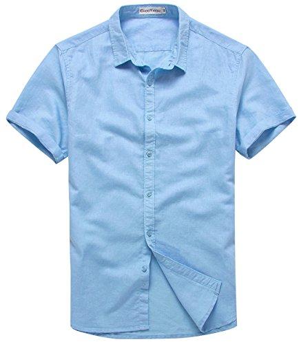(chouyatou Men's Summer Basic Collar Short-Sleeved Linen Shirts (X-Large, Light Blue) )