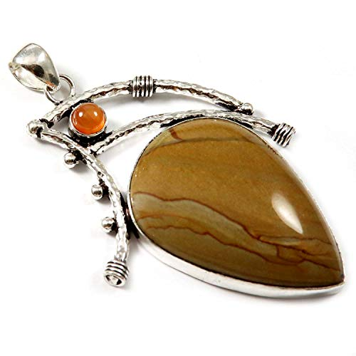 (GoyalCrafts Silver Plated Jewelry Pendant Natural Wild Horse Jasper Carnelian GPH185)