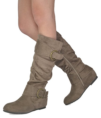 Hidden Wedge Boot - DREAM PAIRS Women's Ura Taupe Suede Knee High Low Hidden Wedge Boots Wide Calf Size 8.5 M US