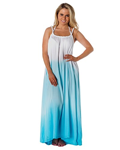 Alki'i Womens Print Beaded Strap Maxi Beach Dress Onesize Turquoise Ombre