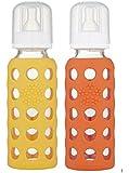 Lifefactory 玻璃婴儿奶瓶 9 盎司和 4 盎司一包 4 瓶装 Mango/Papaya 2组
