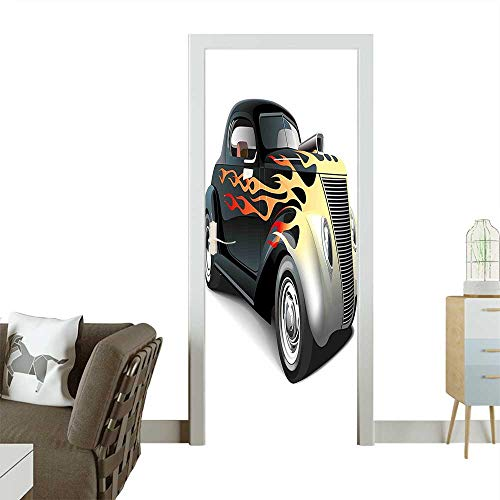 - 3D Photo Door Murals 40s Fashionable Drag Car with Ombre Flames Print Artwork Black Silver Red and Easy to Clean and applyW36 x H79 INCH