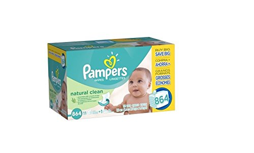 Pampers Natural Clean Wipes, 1 box of 864 Wipes