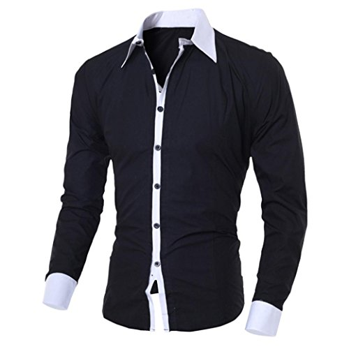 Mens Slim Fit Blouse Long Sleeve Fashion Casual Button Top Contrast Dress Shirt(Black,Bust:36