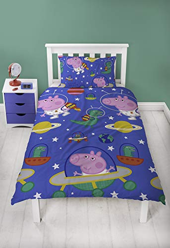 (Peppa Pig George Duvet Cover With Matching Pillow Case - Two Sided Space)