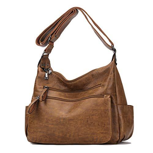(Artwell Women Crossbody Bag Soft PU Leather Purses and Handbags Multi Pocket Hobo Shoulder Bag)