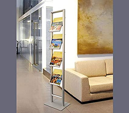 Expositor de folletos de perfil de aluminio – con compartimentos DIN A4 de policarbonato inyectado – Tamaño 174,