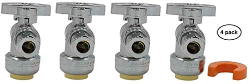 1/2x3/8 Angle Valve Fittila F501 1/4 Turn Shutoff with Disconnect Clip - Lead Free Fitting for Copper, PEX, CPVC, HDPE and PE-RT Plumbing - 100% Satisfaction Guarantee (4 - Angle Copper