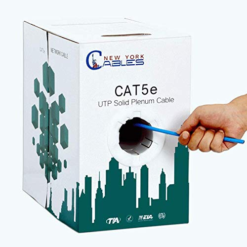(NewYorkCables Cat5e Plenum 1000ft CMP Rated 350MHZ UTP Ethernet Cable Blue)