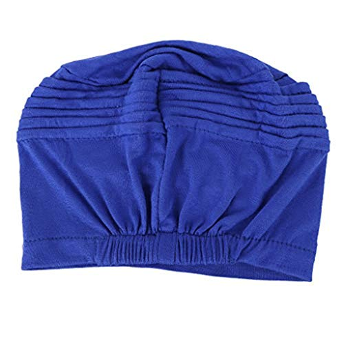 AcisuHu Women Hat Turban Chem Soft Cancer Cap Comfort Head Wrap Scarf Pure Muslim Hijab (Blue, One Size)