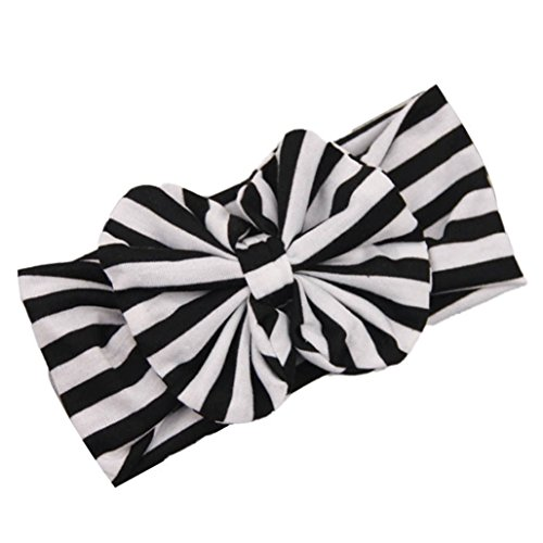 For Girls Infant Hairpin Tuscom@ New Lovely Baby Girl Big Striped Bow Elastic Headband (Motorcycle Big Pin)