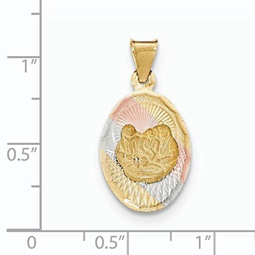 14 carats et Rhodium-Pendentif Religion-JewelryWeb