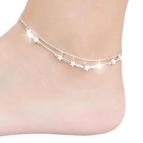 Willsa Women Two Layer Little Star Ankle Chain, Barefoot Bracelet Sandal Beach Foot Jewelry - Light Glasses Blue Singapore Filter