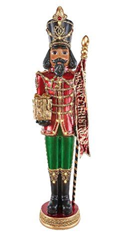 These multi-social Grand Nutcrackers are 6-ft tall. A dazzling Christmas display with their 23-LED lights. Each is ready to greet your guests dressed in his finest. Red and Golden uniforms. (Red)