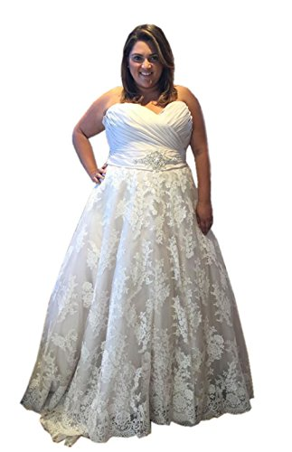 Heartgown Women's Strapless Sweetheart Applique Tulle A line Plus Size Wedding Dress White US22W