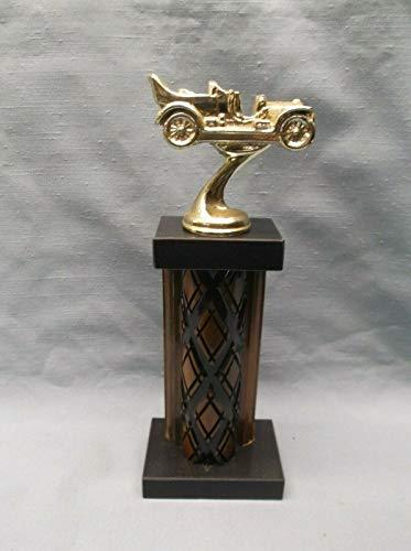 KDA cast Metal Gold Antique car Wood Column Trophy Award Black Marble Base carshow