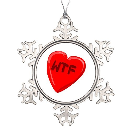 Metal Ornaments WTF Heart Xmas Trees Decorated Snowflake Christmas Decorations Wtf Christmas Ornaments