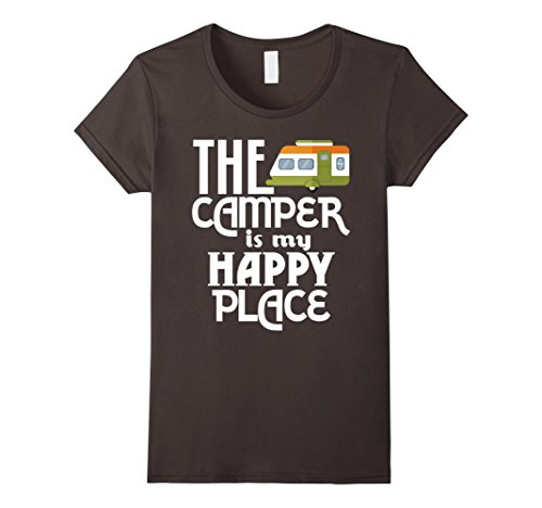 Womens The Camper Is My Happy Place Camping T-Shirt Small...