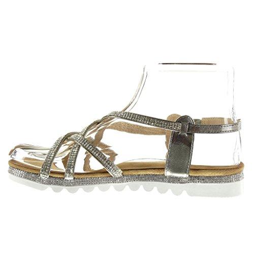 Angkorly - Zapatillas de Moda Sandalias suela de zapatillas mujer multi-correa strass Hebilla Talón tacón plano 2.5 CM - Gris
